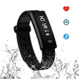 Fitness Tracker - Hizek Activity Tracker with Heart Rate Monitor Wireless IP67 Waterproof Smart Wristand Pedometer Bracelet with Sleep Monitor Step Counter CaloriesTrack for Android 4.3 iOS 8.0