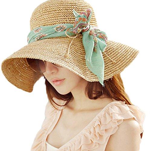 HP95(TM) Fashion Women Summer Wide Brim Straw Sun Hat, Foldable Beach Hat