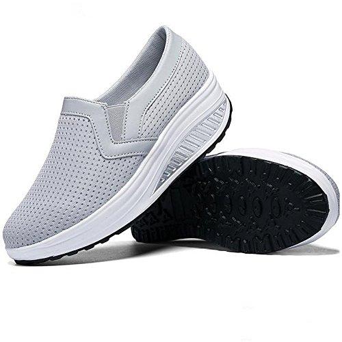 Mocassino Donna Traspirante E Traspirante Moda Sneakers Da Viaggio Casual Basse Grigio