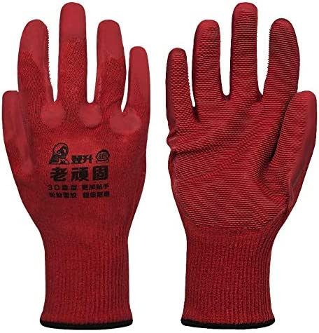 労働保護作業用手袋 労働保険特別手袋滑り止め滑り止めショックタイヤ表面保護手袋、12ペア (Color : Red, Size : M)