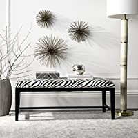 Safavieh Mercer Collection Zanzibar Black and White Zebra Print Bench