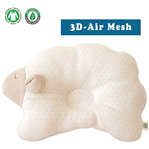 Organic Cotton Baby Protective Pillow (Cloud Lamb - Choco Dot (3D Air Mesh))