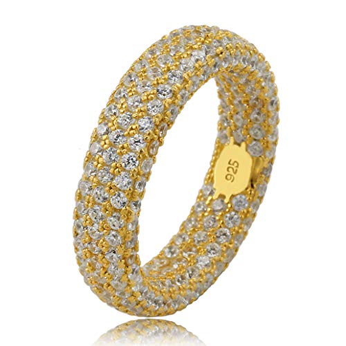 Chain Pave Ring - TOPGRILLZ 925 Sterling Silver Fully Iced Out Diamond Wedding Engagement Band Ring for Men and Women (Gold, 7)