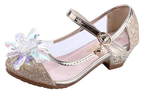 miaoshop Kids Sparkling Mary Jane Crystal Flower Low Heel Pumps Transparent Glitter Formal Shoes (11.5 M little Kid, ()