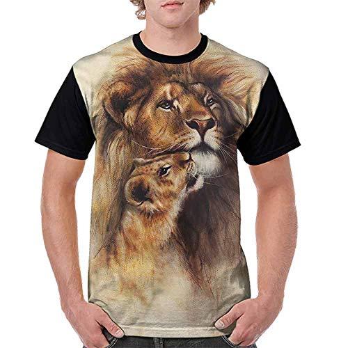 BlountDecor Classic T-Shirt,Lion Mom and Her Baby Cub Fashion Personality Customization