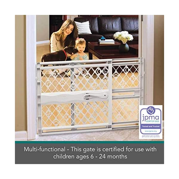 "North States Mypet Paws 40"" Portable Pet Gate: Expands & Locks In Place with No Tools. Pressure Mount. Fits 26""- 40"" Wide (23"" Tall, Light Gray) 5"