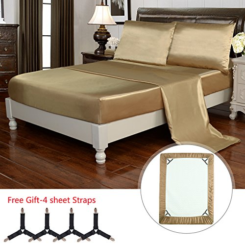 HollyHOME Silky Soft Luxury 4 Piece Deep Pocket Queen Satin Sheet Set, Free Fitted Sheet Straps Included, Golden (Gold Black Bed Sheets)