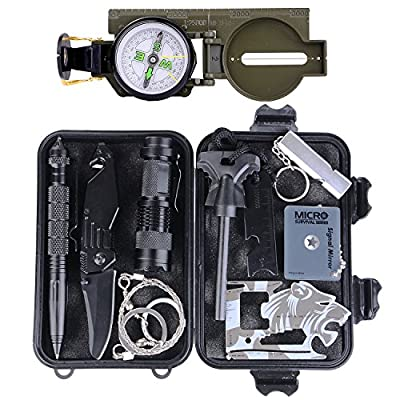 Survival Gear Kit 11 in 1, Tianers Professional Outdoor Emergency Survival Tools Set with Military Compass, Cold Steel Knife, Signal Mirror, Saber Card for Travel Hike Camp Earthquake Overseas from Tianers
