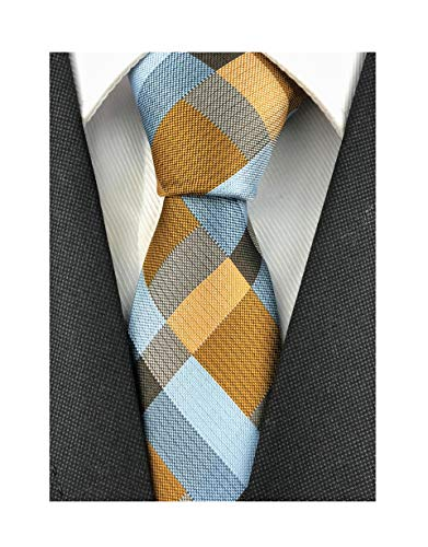Men Boys Check Silk Ties Tan Grey Plaid Vintage Autumn uk Extra Long Silk Neckties Best Gift