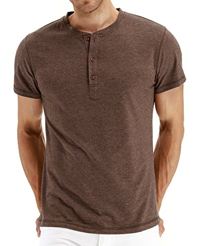 (PEGENO Men's Casual Slim Fit Short Sleeve Henley T-shirts Cotton Shirts VG-Brown-US XL)