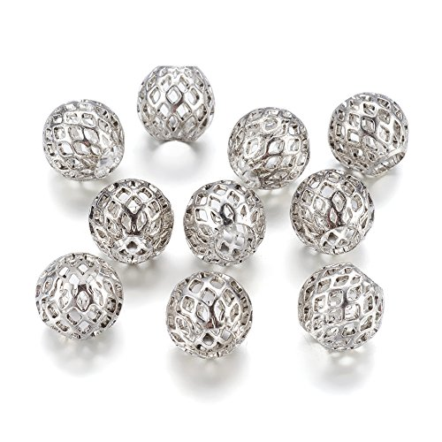Kissitty 50-Piece Antique Silver Large Hole Beads 10x8mm Rondelle with Grid Pattern Hollow Spacers for for DIY Jewelry Necklace European Charm Bracelet Making - Hollow Bead Chain