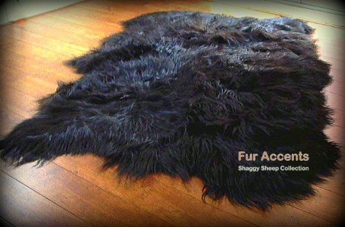 Fur Accents Shaggy Faux Sheepskin Area Rug / Jet Black / Long Hair / Soft Ultra Suede Back / Freeform Shape / 5