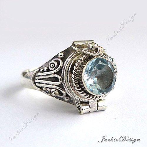Blue Topaz Poison Ring Locket Sterling Silver Secret Compartment JD140
