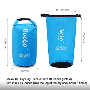 Becko 10L Yellow Dry Bag, Waterproof Case Pouch Include Shoulder Strap for Swimming, Surfing, Fishing, Boating, Skiing, Camping and Other Outdoor Sports, Protest Your Personal Item Against Water, Rain, Snow and Sweat (Yellow, 10L)