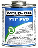 Weld-On 10123 Gray 711 Heavy-Bodied PVC Professional Industrial-Grade Cement, Medium-Setting, Low-VOC, 1/2 pint Can with Applicator Cap