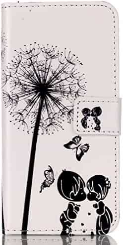 IKASEFU Leather Case for Samsung Galaxy S7 Edge,Cute Dandelion Butterfly Premium Magnetic Folio Case with Card Slots for Samsung Galaxy S7 Edge-Dandelion Butterfly