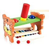 Pound & Tap Bench with Slide Out Xylophone - NaXY Early Educational Wooden Musical Toy for Toddler Kids with Xylophone Mallet