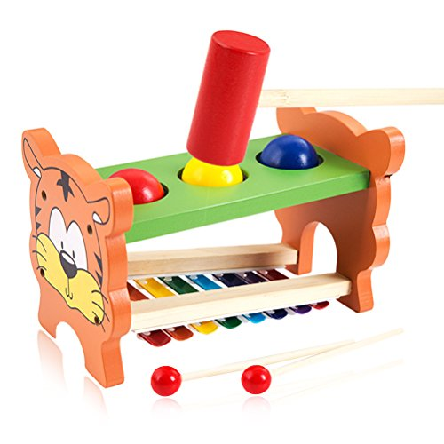 Pound & Tap Bench with Slide Out Xylophone - NaXY Early Educational Wooden Musical Toy for Toddler Kids with Xylophone Mallet by NaXY