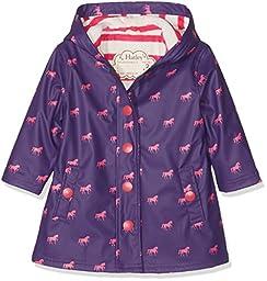 Hatley Big Girls\' Button up Splash Jacket, Pink Horses, 12