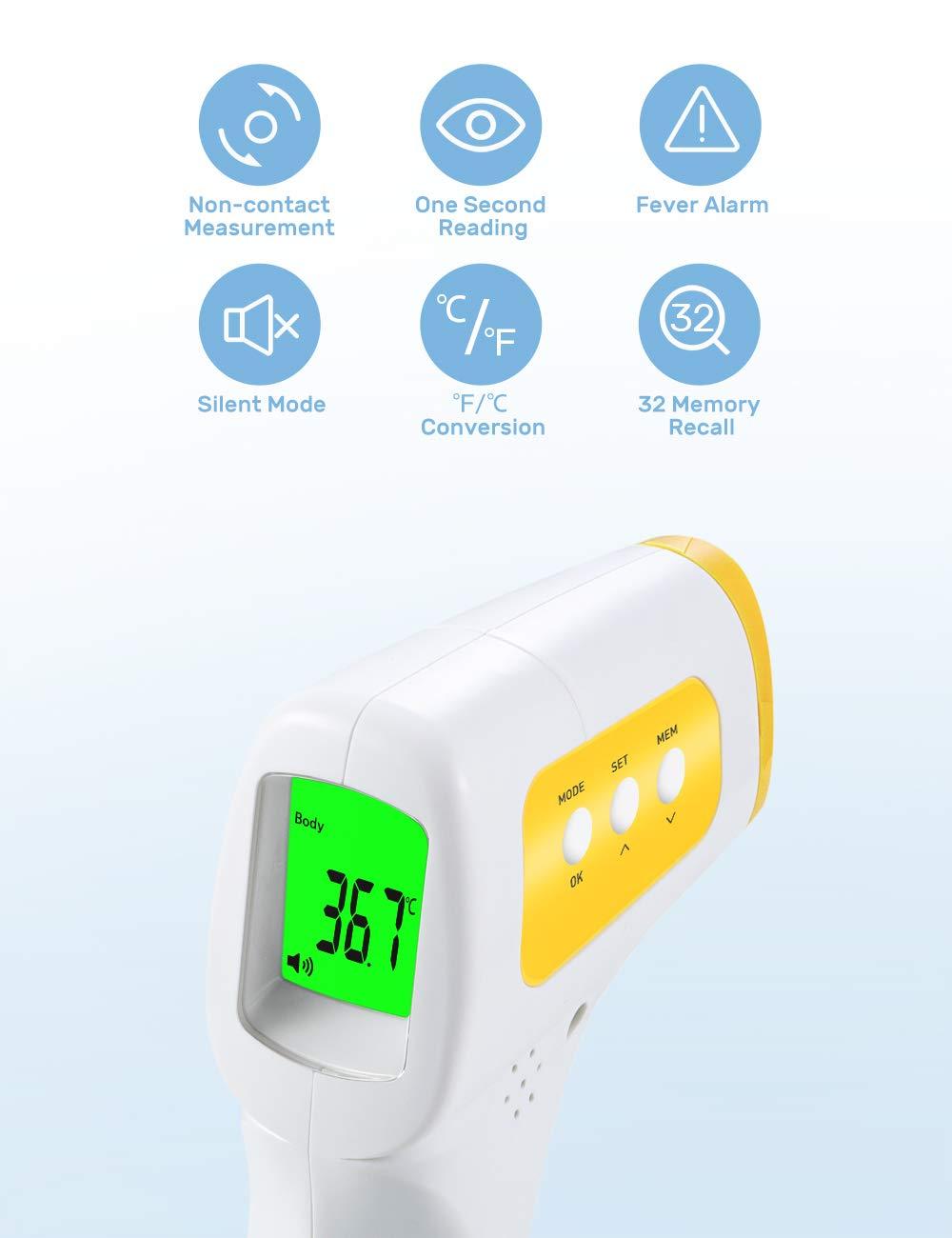 40 Daten Speicherfunktion Automatische Umschaltung f/ür Ohr Stirn und Objekt Modus Hochtemperaturalarm AFAC Fieberthermometer Digitales Erwachsene Baby mit Magnetische Abdeckung