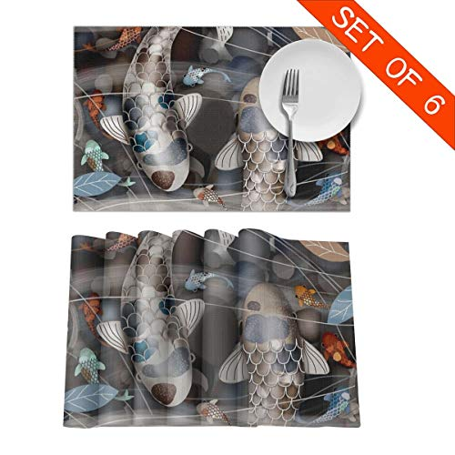 DerdYoaa Koi Fish Pond China Style Art Placemats Set of 6 for Dining Table Washable Placemat Non-Slip Kitchen Table Mats 12 X 18 Inches