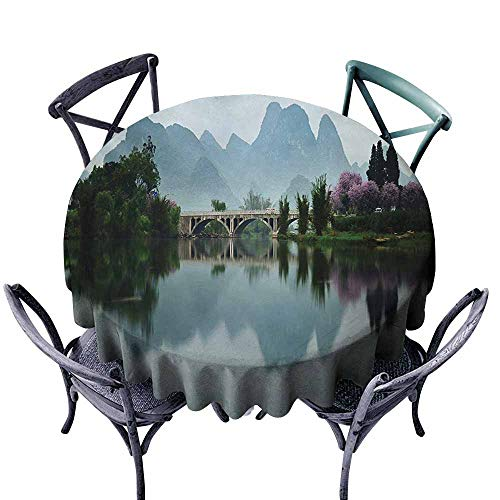 VIVIDX Round Outdoor Tablecloth,Japanese,Japanese National Park Bridge Reflections of The Mount on The Lake Scenery Photo,for Banquet Decoration Dining Table Cover,55 -