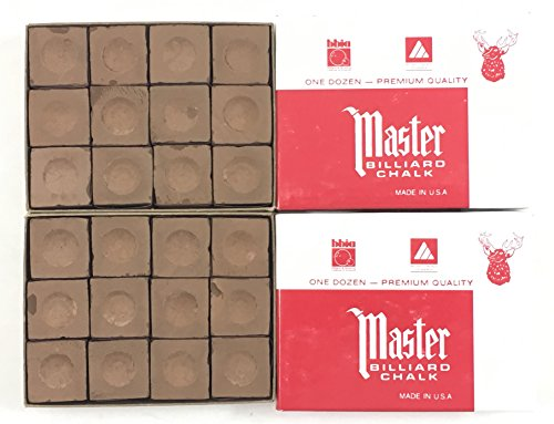- Made in the USA - 2 Boxes of Master Chalk - 24 Pieces for Pool Cues and Billiards Sticks Tips (Brown)