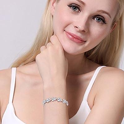 EVER FAITH Silver-Tone Full Cubic Zirconia December Birthstone Leaf Bridal Roman Tennis Bracelet Clear