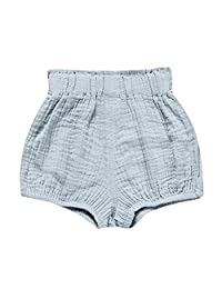 SHANGPIN Baby Girls Boys Summer Solid Color Striped Pleated Shorts Pants Bloomer