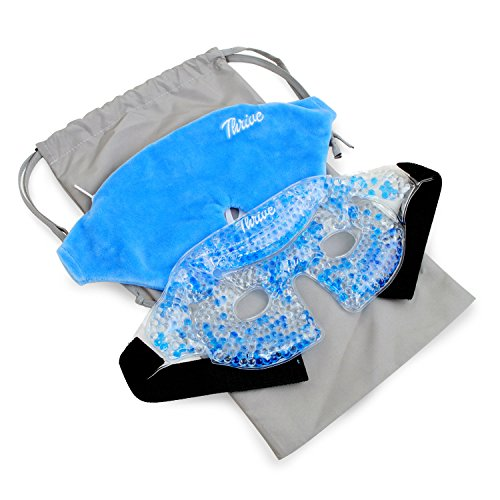 Eye Mask - Gel Beads Hot & Cold Compress Pack + Fabric Cover - Innovative Reusable gel beads provides both ice or heat pain relief and therapy treatments. Great for migraines, headaches + more by Thrive