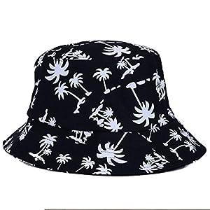 Voberry® Fashionable Unisex Men Womens Summer Satin Lined Printed Cotton Flat Bucket Hat