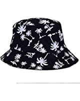 Voberry® Fashionable Unisex Men Womens Summer Satin Lined Printed Cotton Flat Bucket Hat