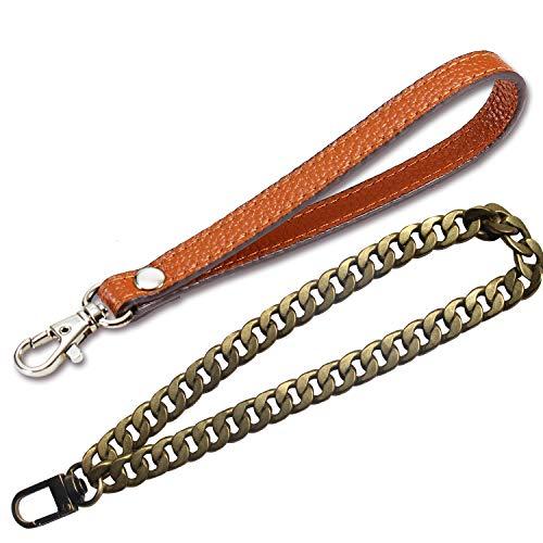 Wristlet KeyChain Wristlet Strap Genuine Leather Hand Strap for Wallet Clutch Wristlet Purse (B2 Brown+1 (bronze) metal Chain Strap)