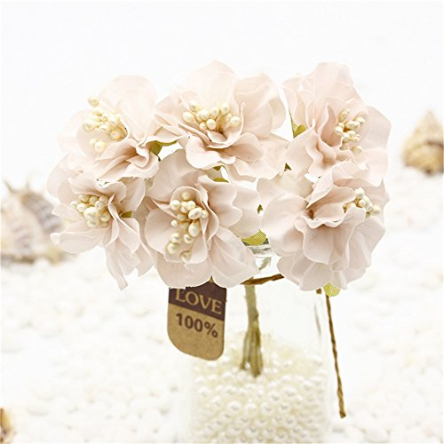 30pcs Vintage Silk 3cm Daisy Artificial Flower Mini Bouquet Wedding Party Home Wreath Decoration DIY festival Home Decor Garland Flowers (light (Mini Carnations Bouquets)