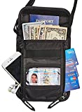 Hopsooken Travel Neck Pouch Passport Holder with Rfid Blocking, Use As Travel Wallet or Hidden Wallet - Protect Your Money, Passport, Credit Cards, Cell Phone and Documents,6 Pockets (black)
