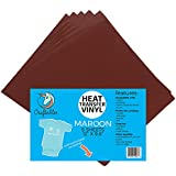 """(5) 12"""" x 9.8"""" Sheets of Craftables Maroon Heat Transfer Vinyl HTV - Easy to Weed Tshirt Iron on Vinyl for Silhouette Cameo, Cricut, all Craft Cutters. Ships Flat, Guaranteed Size"""
