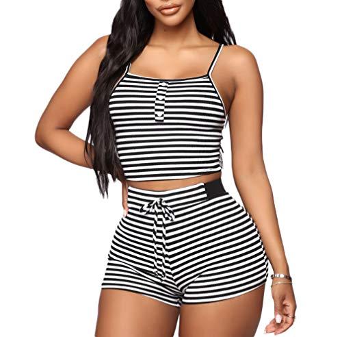 Ladies 2 Piece Pj - Lookwoild Womens Sexy Tank Top Shorts 2 Two Pieces Tracksuit Workout Yoga PJ Outfits (Black Stripe, XL)