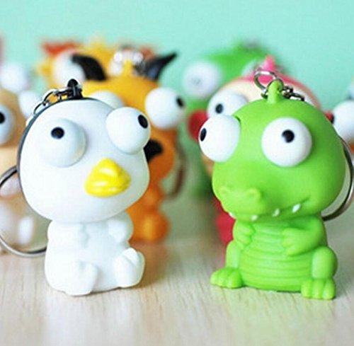 Kingken 1PC Funny sollevato occhi bambola anti stress Ball Animal Keychain Stringendo giocattolo (colore casuale)