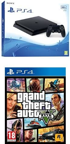 PlayStation 4 Slim (PS4) - Consola de 500 GB + Grand Theft Auto V (GTA V): Amazon.es: Videojuegos