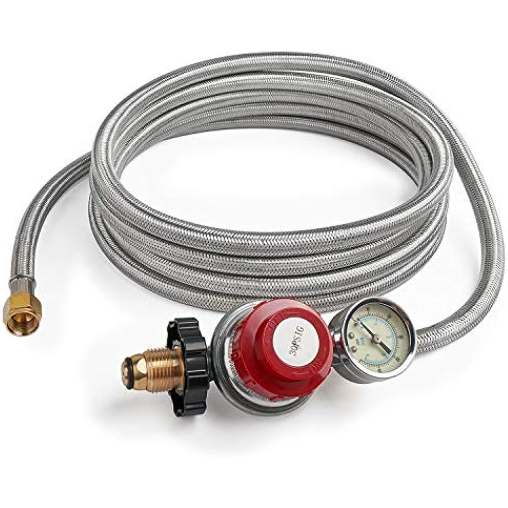 12 Foot 0 30 Psi High Pressure Adjustable Propane Regulator Gauge Indicator Gas Ebay