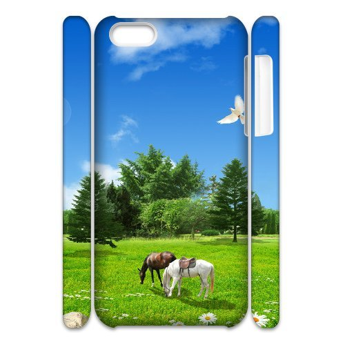 SYYCH Phone case Of Blue sky meadow and Horse Cover Case For Iphone 5C