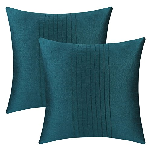The White Petals Set of 2 Dark Teal Pillow Cases with Pin Tucks Panel (18x18 inches, Dark Teal) by The White Petals