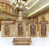 Eovsea Bathroom Accessories Set 5Pcs Rome Aristocracy Bath Resin Cup Toothbrush Holder