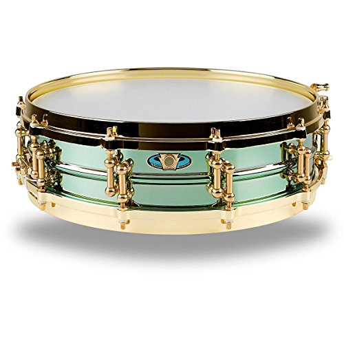 Ludwig LW0414CP 4 X 14 Inches Carl Palmer VENUS Signature Green Brass Snare (Beaded Brass Snare)
