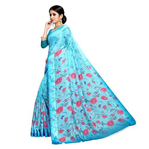 Sitara fashion Floral Print Bollywood Cotton Silk Saree