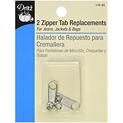 Dritz Zipper Tab Replacement 2/Pkg-Nickel