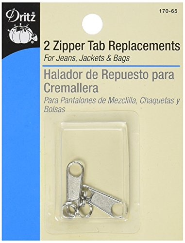 Dritz 170-65 Zipper Tab Replacements, Nickel 2-Count