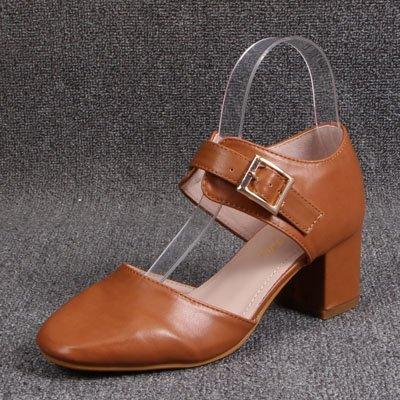 Zapatos Mujer Zapatos Con Ranuradas Cuadrada Brown Cabeza De Baotou Huecos Sandalias Fijaciones Gruesos GAOLIM qwvYtx