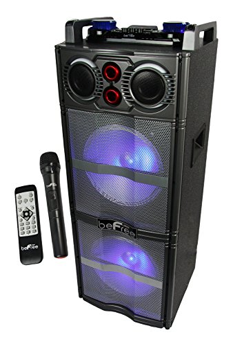 beFree Sound BFS-5501 Double Subwoofer Bluetooth Portable Party Speaker with Reactive Lights, USB/SD Input, FM Radio, Remote Control and Microphone (Double Speaker)