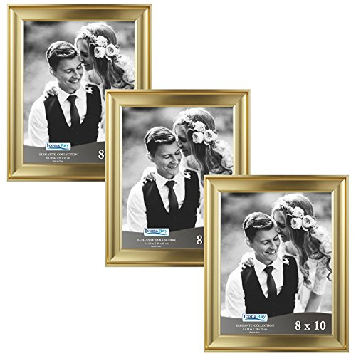 (Icona Bay 8x10 Picture Frame (3 Pack, Gold), Gold Photo Frame 8 x 10, Wall Mount or Table Top, Set of 3 Elegante Collection)